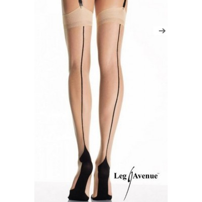 Lycra contrast point heel stockings with backseam